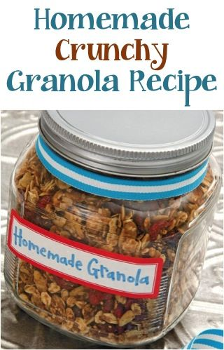 Homemade Crunchy Granola Recipe! #breakfast #recipes This will be on the Christmas morning Breakfast table!