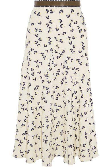 Roksanda | Moraya leather-trimmed printed silk crepe de chine midi skirt | NET-A-PORTER.COM