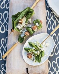 Bacon-and-romaine skewers with blue cheese dressing.  Salad on a skewer!Blue Cheese, Ideas, Scrumptious Recipe, Dresses Recipe, Cheese Dresses, Skewers Food, Mothers Day Fath, Food Wine, Bacon And Romaine Skewers