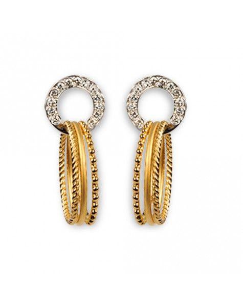 Pendientes de oro amarillo, oro blanco y diamantes talla brillante que reciben el nombre de Melodía Medium. Forman parte de la colección Música de Carrera y Carrera.
