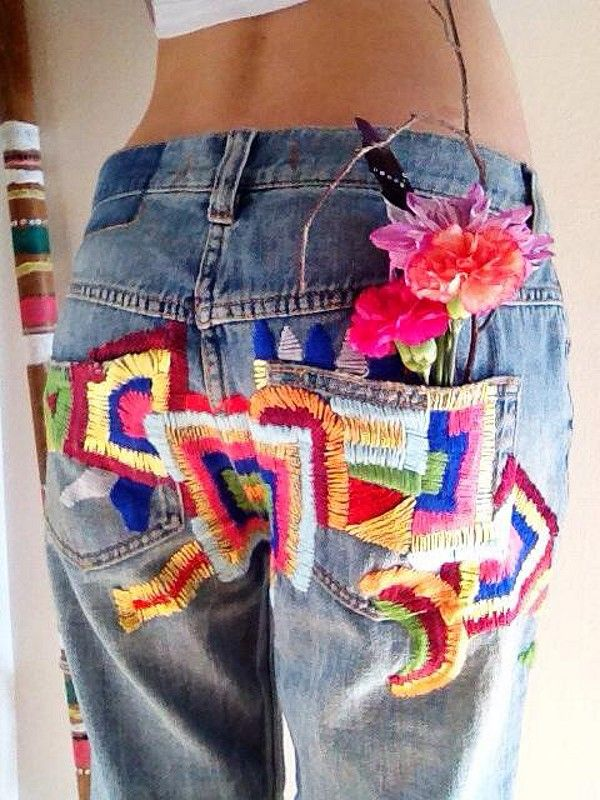 25+ best ideas about Embroidery on jeans on Pinterest | Patches for jeans Diy jeans and Zipper ...