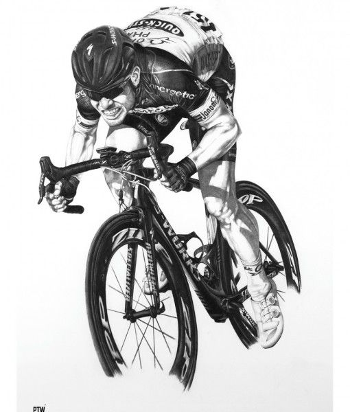 Mark Cavendish A2 Cycling Print.  This amazing piece of artwork was first hand drawn by Paul Williams, a talented artist with a penchant for capturing the likenesses of cycling legends.  You could own this stunning print!  More cyclists available.