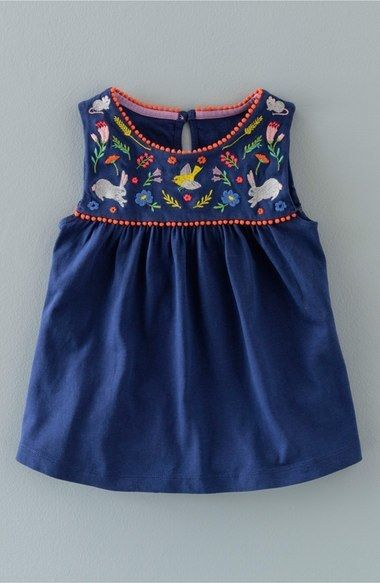 Mini Boden 'Field Friends' Embroidered Sleeveless Tunic