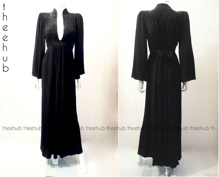 Vtg 70s High Priestess Ossie Clark Radley Black Fortuny Style Sash Gown Dress