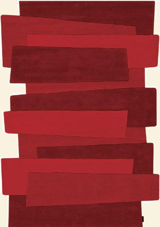 Modernrugs.com Red Odd Shaped Abstract Modern Rug