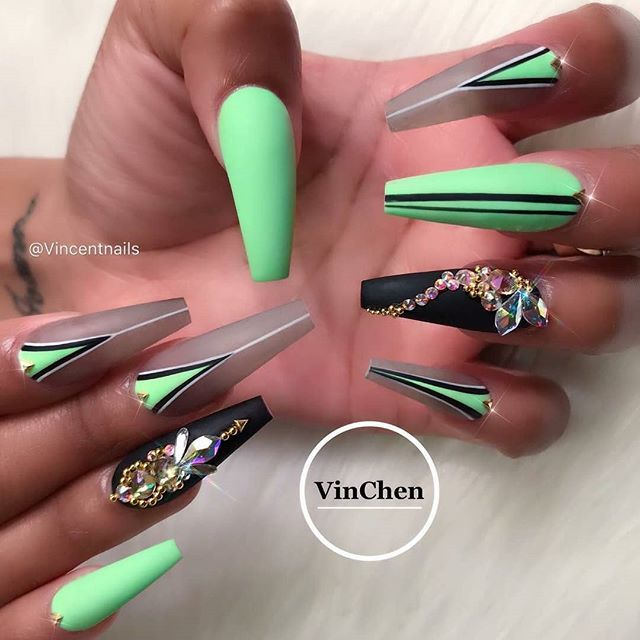 Long Coffin Shaped Nails With Teal Bright Green Gel Polish And