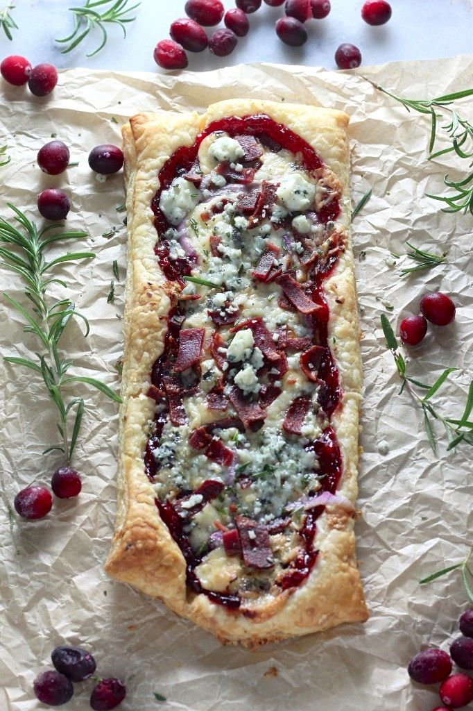 Cranberry Sauce, Bacon, and Gorgonzola Pastry Puff Pizza with recipe Please Click on photo then source.