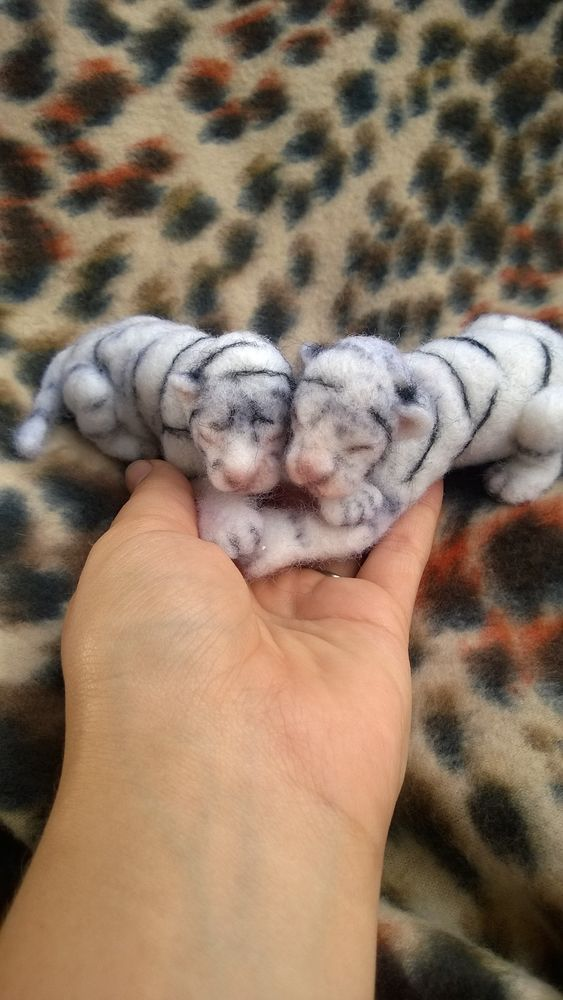 ooak artist bear wool needle felted baby newborn Tiger cubs so realistic!!! $199.00