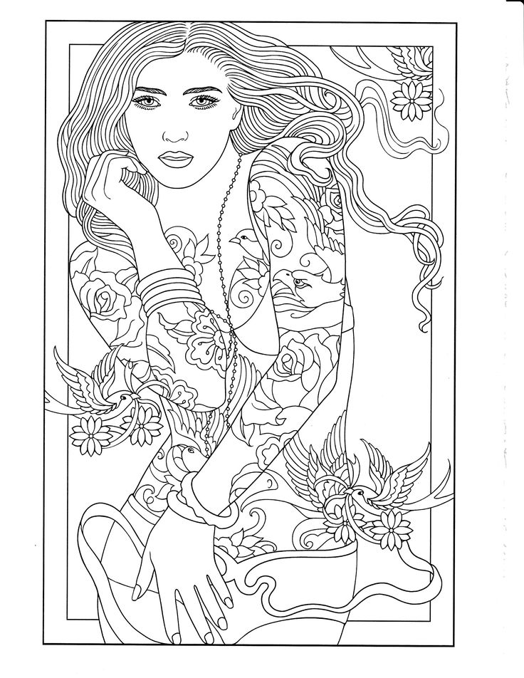 printable coloring page body art tattoostatooscoloring bookscolouringprintable - Body Art Tattoo Designs Coloring Book