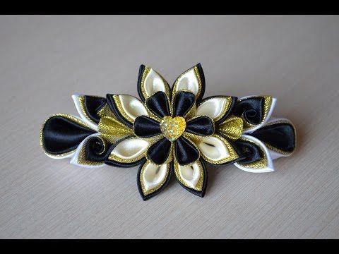 Заколка из лент канзаши Мастер класс атласные цветы DIY kanzashi hairclip handmade hair ornaments 發飾 - YouTube
