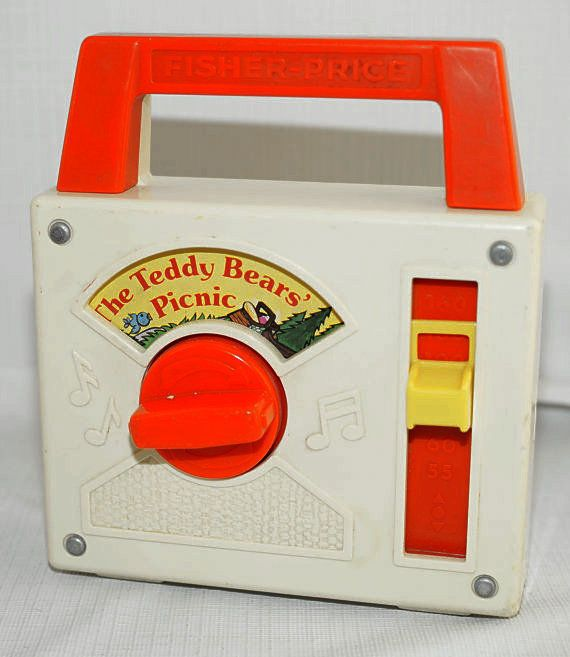 VINTAGE RETRO FISHER PRICE MUSIC BOX POCKET RADIO 1979 THE TEDDY BEARS PICNIC Buy direct from www.browse-a-while.com