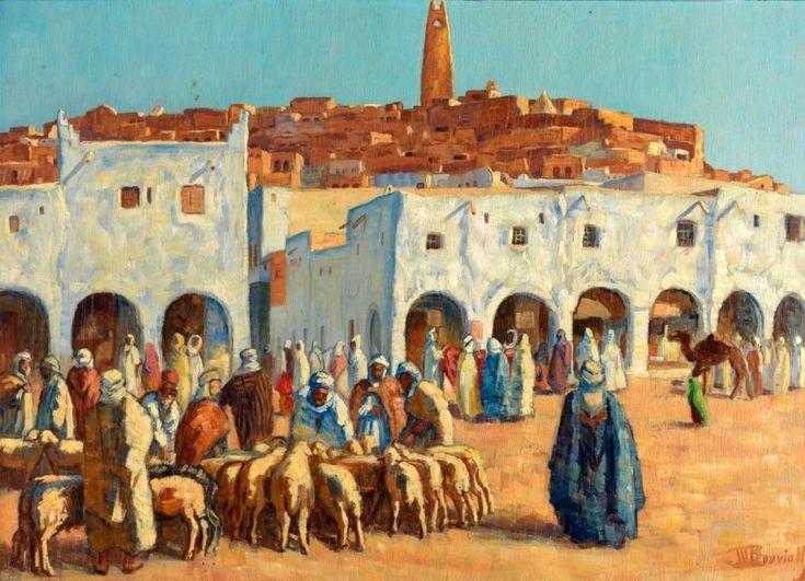 """Maurice BOUVIOLLE (1893-1971) """"Marché aux moutons à Ghandaïa"""". Huile sur panneau, signée en bas à droite. 50 x 70 cm - Dupont & Associés - 16/03/2015"""