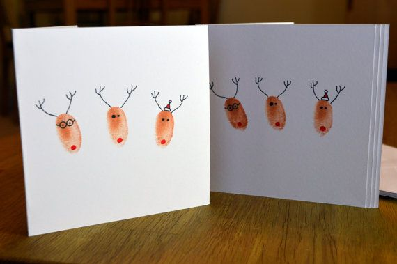Set of 5 Handmade Fingerprint Reindeer Friends Christmas Card with Envelope - Square aprox 5 x 5 (aprox 13cm x 13cm)  Reindeer Friends  Ideal for