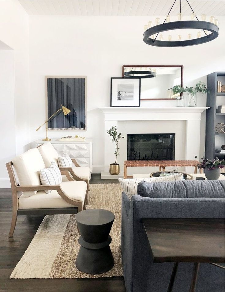 This is too small for your living room but I just liked the style for your house, mixing beige and greys. I also wanted to show you how they put a bench in front of their fireplace. You could do something like that in your living room to add extra seating.