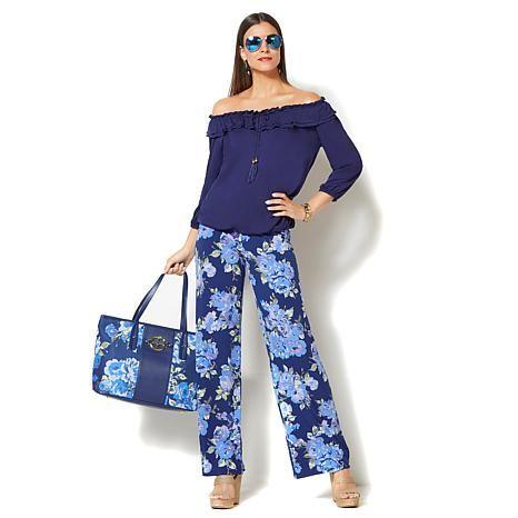 89f2c723ea5fd6 IMAN Global Chic Luxury Resort Palazzo Pant and Ruffle Top Set