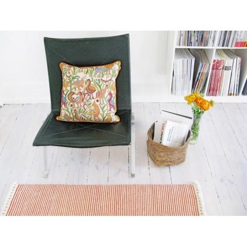 Stripe rug, Birds colour cushion, Foldi basket by Tikau