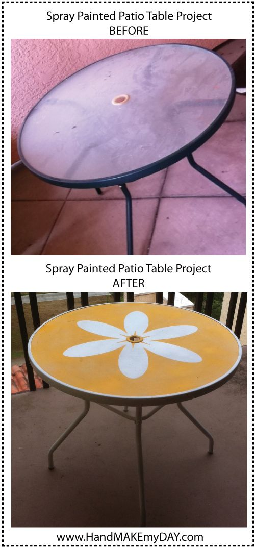 Spray painted patio table. OK...how many of these old tables have I passed over in the garbage this year. This is a super great idea!