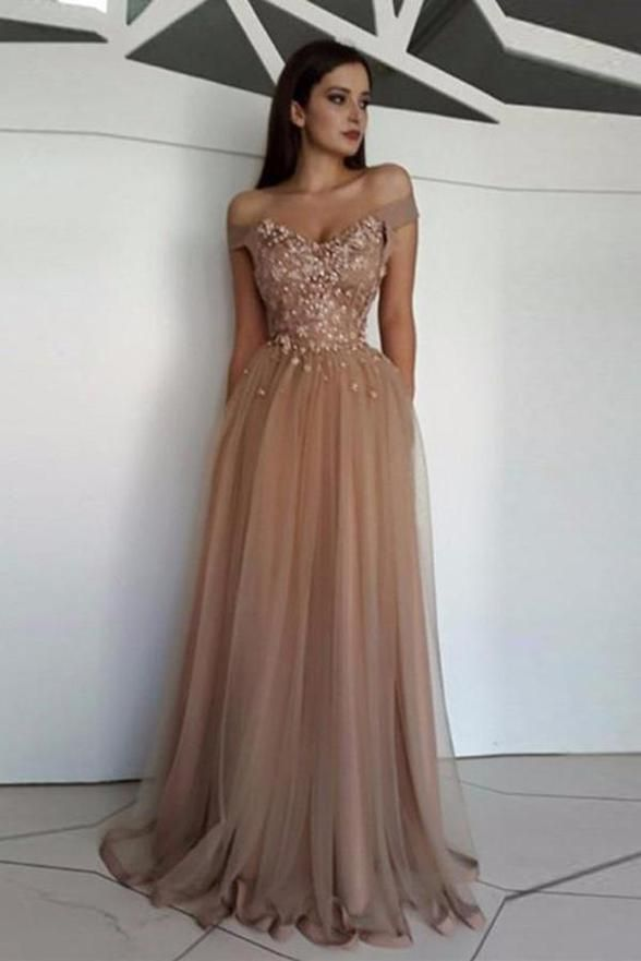 Charming A Line Lace Tulle Appliques Off the Shoulder Prom Dresses Formal Evening Dress LD2065