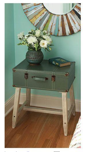 vintage suitcase table / maleta mesita #DIY #decoracion #vintage #maletas antiguas #repurposed #upcycled