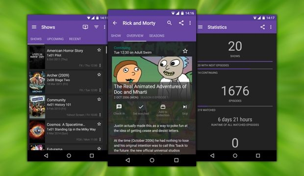 Great Android app for seeing upcoming episodes of your favorite TV shows. #android #androidapps #materialdesign #tv