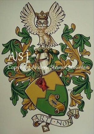The Armorial Bearings of Christopher Chambers this is original hand drawn and painted artwork created by British Artist and Designer Andrew Stewart Jamieson and is fully copyrighted.  No portion of this can be used to create another piece of artwork.  Do not copy, trace or digitally manipulate.  (heraldry, heraldic art, heraldic artists, coats of arms, fine art, The Jamieson Family)