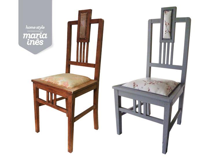 Uma cadeira clássica, que foi pintada com tinta de exterior e forrada com tecido plastificado, para poder estar na varanda.