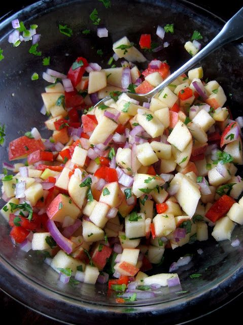 Apple Salsa: 2 large crisp apples, diced;  1/2 cup red bell pepper, diced;  2 limes, juiced;  1 tsp. honey;  1/4 cup cilantro, chopped;  1/3 cup red onion, diced;  1/2 jalapeno, seeded and minced;  salt and freshly ground black pepper, to taste;    DIRECTIONS:  In a medium bowl, combine apples, bell pepper, cilantro, onion, and jalapeno. Drizzle with lime juice and honey. Toss to coat. Season with salt and pepper to taste.