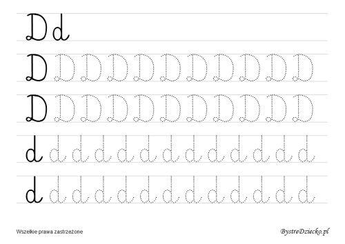 D – nauka pisania dla dzieci – duża czcionka « Bystre Dziecko