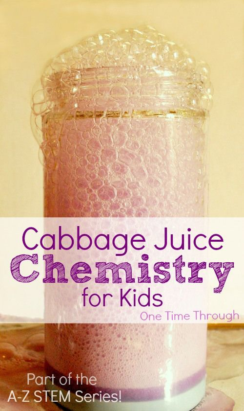 Colour-changing foamy eruption! HUGE WOW factor for kids! Cabbage Juice Chemistry for Kids - experiments, homemade litmus paper, colour changing chemical art and more! {One Time Through} STEM Part of the A-Z STEM series: C is for Cabbage Juice Chemistry