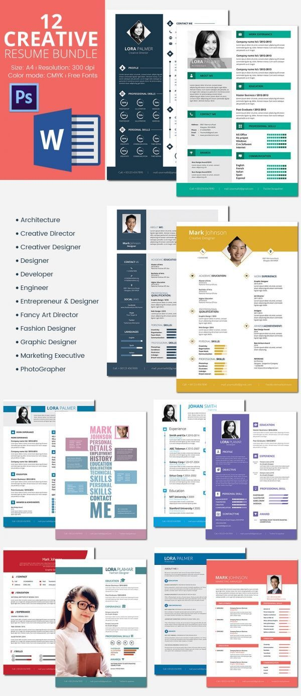 12 Resumes Bundle Template , Infographic Resume Template for Successful Job Application , Creating a resume is not as easy as you think. You may find it difficult to filter the information that you need write in the resume. You can minimize...