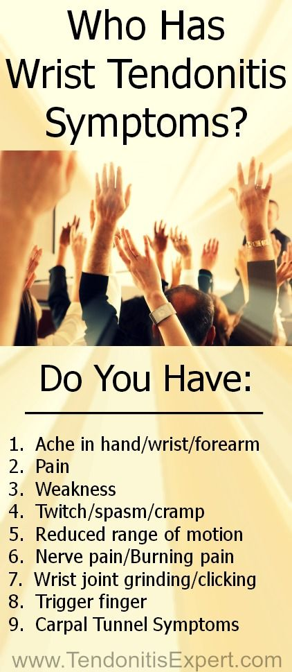 Do you have Wrist Tendonitis Symptoms? Think you have Carpal Tunnel Syndrome but really have symptoms of wrist tendonitis? http://www.TendonitisExpert.com/wrist-tendonitis-symptoms.html