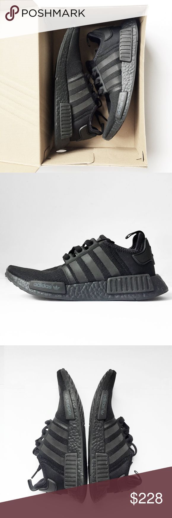 ADIDAS NMD R1 boost triple black shoes men's 7.5 ADIDAS ORIGINALS  NMD R1   rare, sold out.  boost. triple black. worn once.  professionally cleaned + disinfected.  I do not sell inauthentic items. comes in its original box.  running athletic sneakers training trainer yeezy flyknit kanye 350 700 all black nike y3 air jordan retro jeremy scott flight club hypebeast sneaker head reflective collector's core japan mid top goat basketball skate sb neighborhood adidas Shoes Athletic Shoes