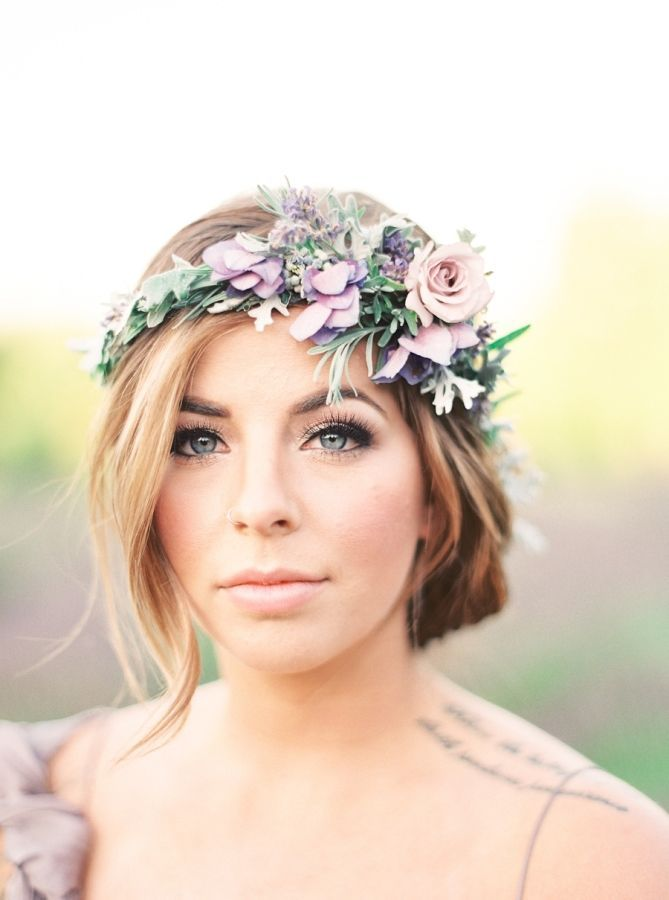 soft wedding updo with a llavender floral crown ~ we ❤ this! moncheribridals.com