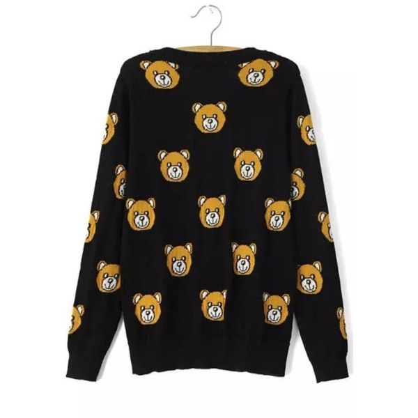 Black Teddy Bear V Neck Knitted Sweater ❤ liked on Polyvore featuring tops, sweaters, v-neck sweater, v neck sweater, teddy bear sweater and v-neck tops