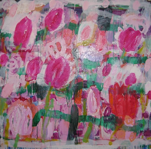 INGRID JOHNSTONE  'Tulips'   2009  oil on linen  153 x 122 cm