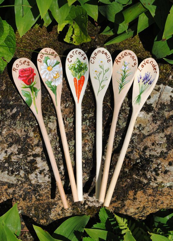 Garden Markers Custom Painted Wooden Spoons by CatherineLaPointe