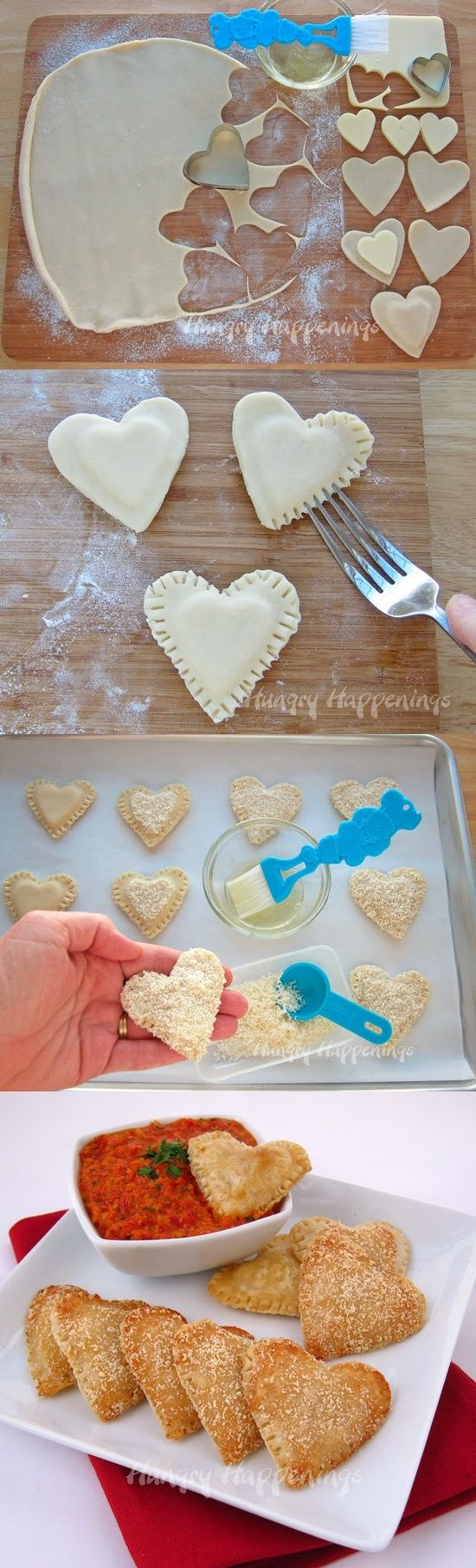 Mozzarella Cheese Filled Hearts – with Roasted Red Pepper Pesto Or cream cheese n nutella dip???!
