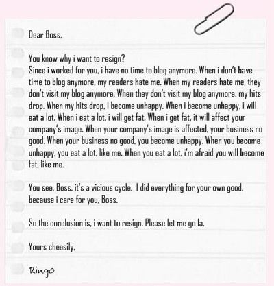 Resignation letter from a Blogger