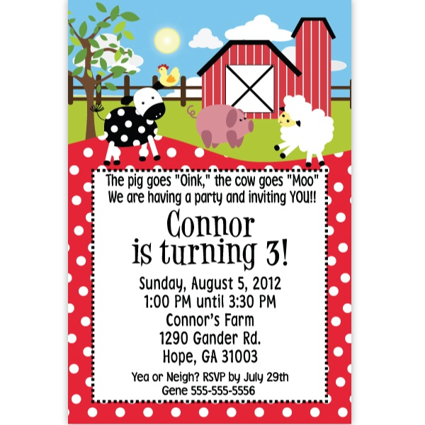 Farm Animals Personalized Invitations, FREE shipping offer, 50% off tableware, and same day order processing from Birthday Direct - Farm Party Supplies