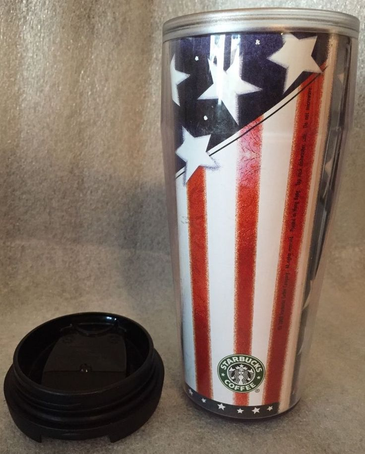 Rare STARBUCKS USA Red White Blue Barista Travel Mug Tumbler 2002 4th July Stars #starbucks