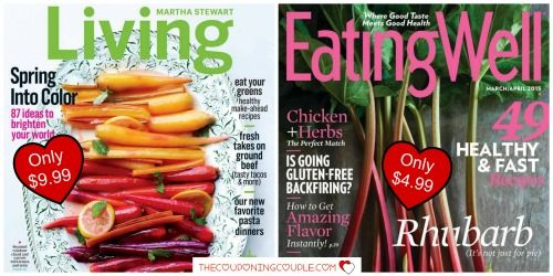 WAIT! Did you see the magazines that you can get today at out of this world prices? Eating Well Magazine and Martha Stewart Living Magazine! I am thinking that Mother's Day isn't that far off and these would make terrific gifts!  Click the link below to get all of the details ► http://www.thecouponingcouple.com/martha-stewart-living-or-eating-well-magazine-deals/  #Coupons #Couponing #CouponCommunity  Visit us at http://www.thecouponingcouple.com for more great posts