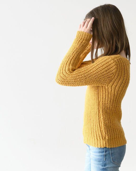 Mustard sweaterwool sweaterhand knit by Isabellwoolstudio on Etsy