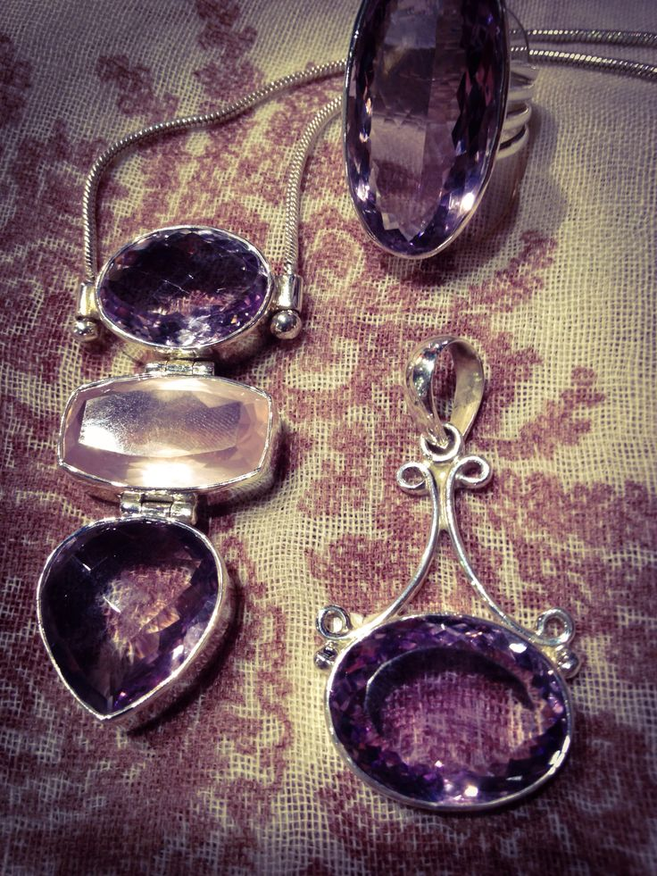Amethyst. Protective and comforting. Amethyst encourages selflessness & radiates divine love.