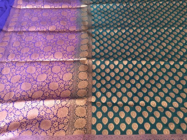 Feroze Blue Dehera/Opara Silk Katan saree with ZARI WORK #Unbranded #Sareesari