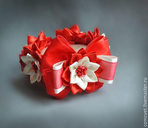 Купить Украшение для пучка - ярко-красный, лиловый, кремовый, айвори, украшение для пучка, украшение на пучок
