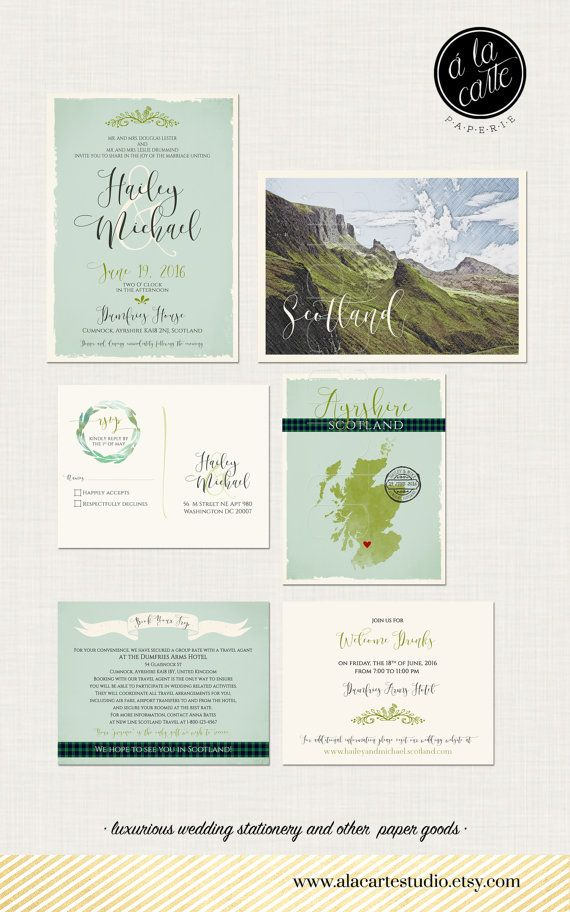 Scotland UK Wedding Invitation Suite - Scottish Invitation with tartan and landscape - Deposit Payment