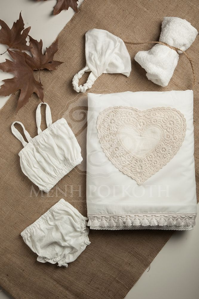 Exceptional Christening lathopana with crochet heart