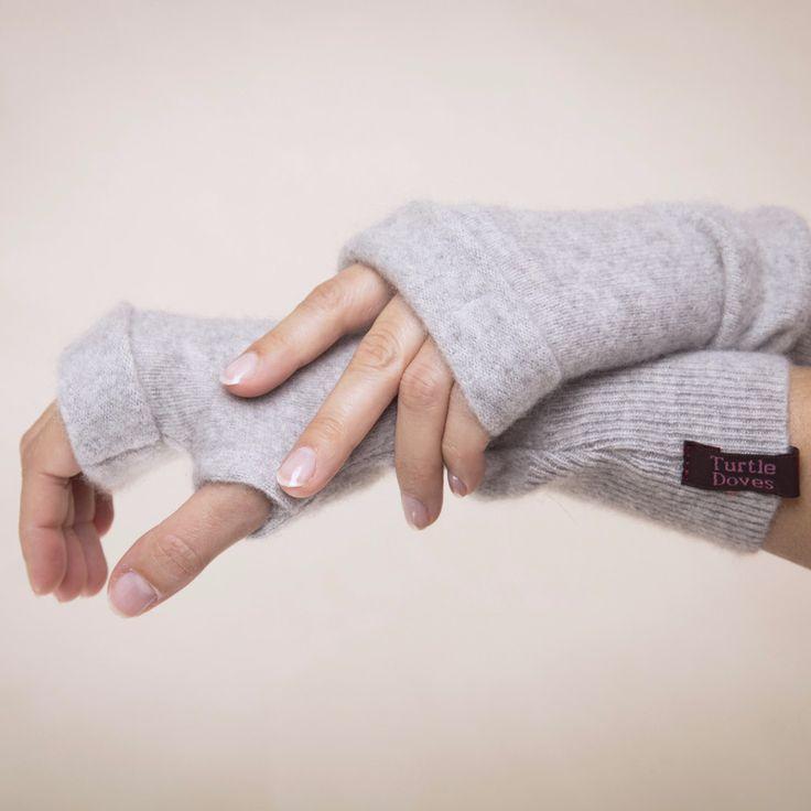 Light Grey Cashmere Fingerless Gloves By Turtle Doves