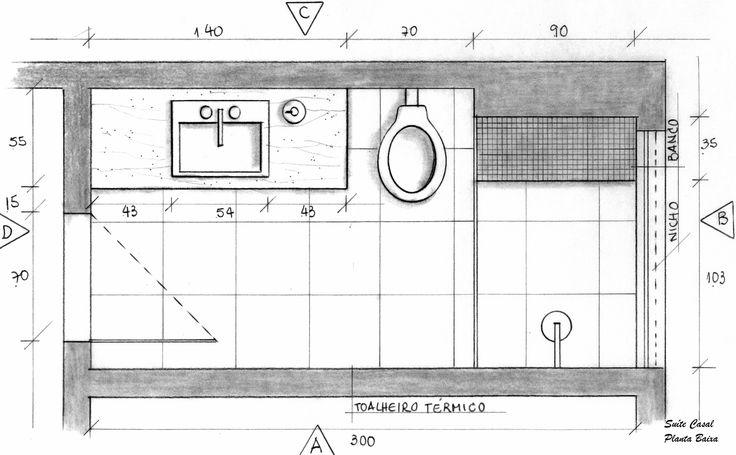 Suíte do Casal Banheiro Planta Baixa - Projeto Ana Lucia Nunes