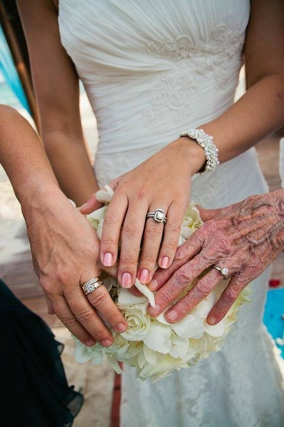 This is a really neat photo moment--the grandmother, mother, and daughter show their rings! A great generation photo!
